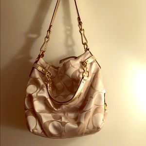 COACH Signature Hobo Convertible Gold Beige
